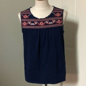 Navy blue tribal Aztec boho embroidered tank top